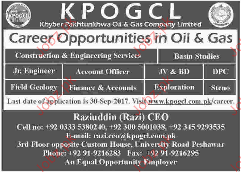 Career Opportunities In Oil & Gas Sector (KPOGCL)