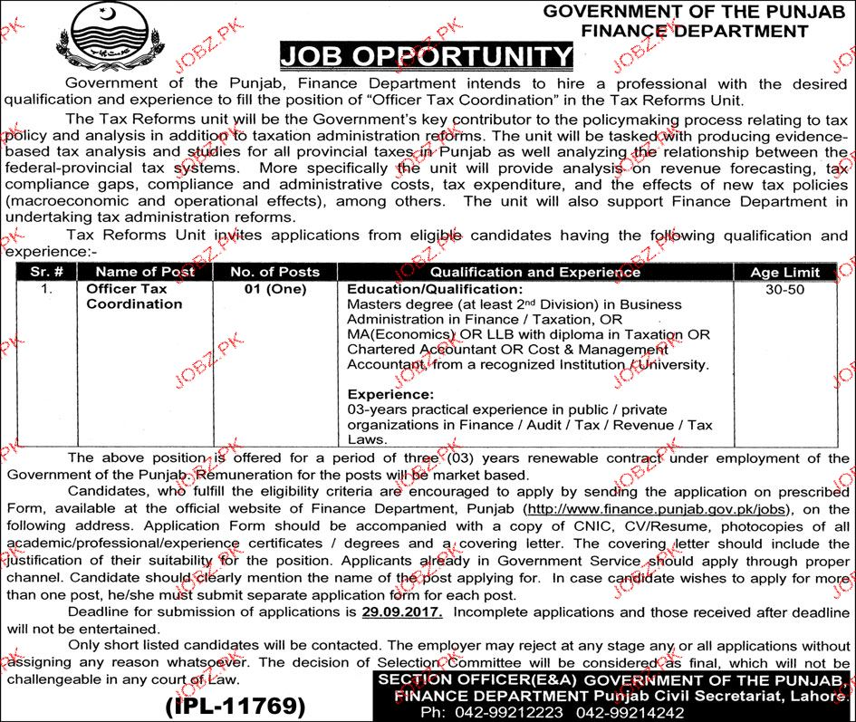 Finance Department Government of Punjab Job