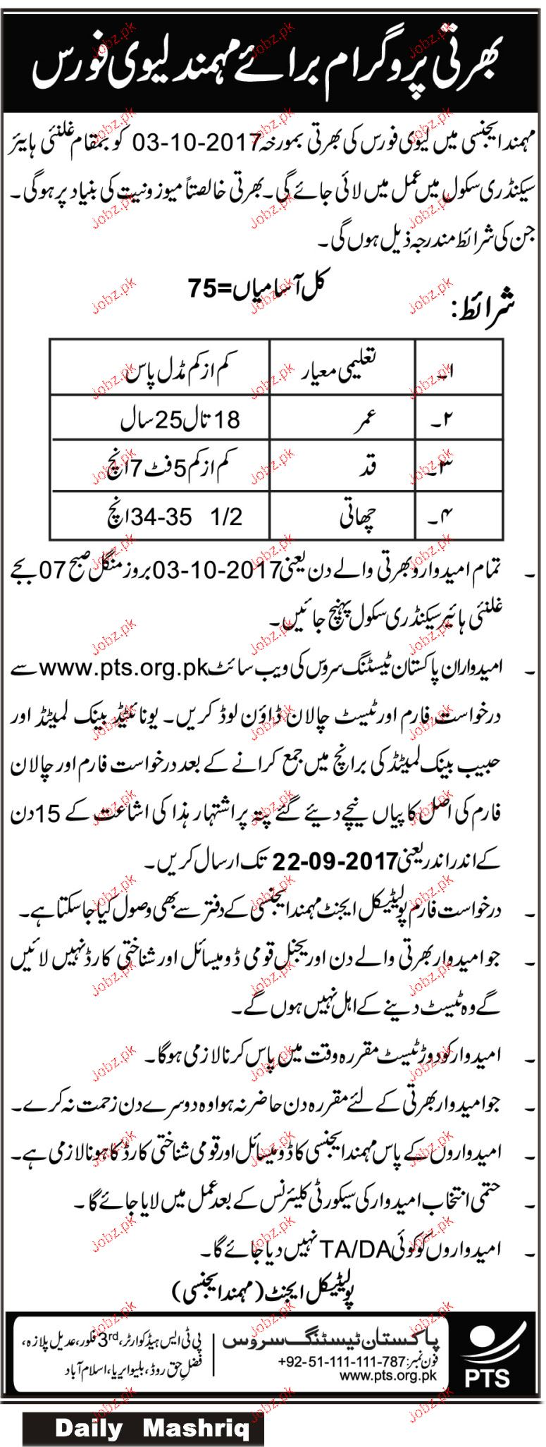 Recruitment in Mohmand Leavy Force