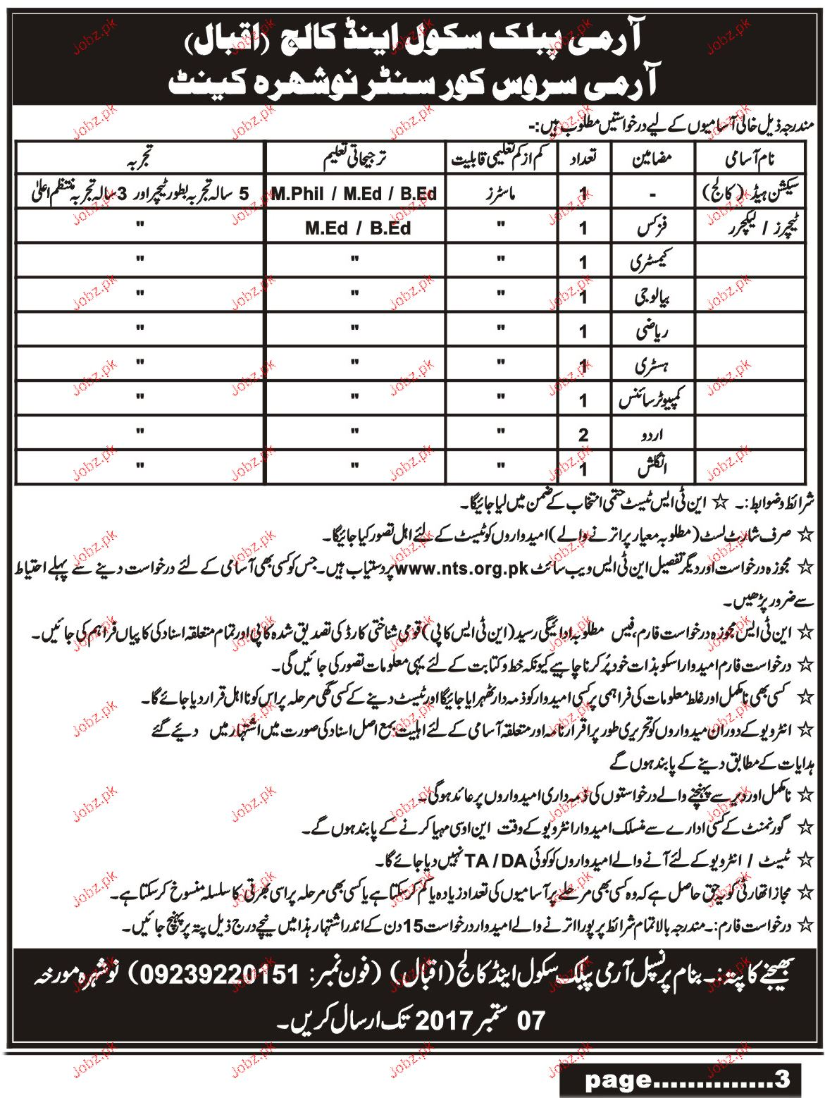 Army Public School and College APS NTS Jobs