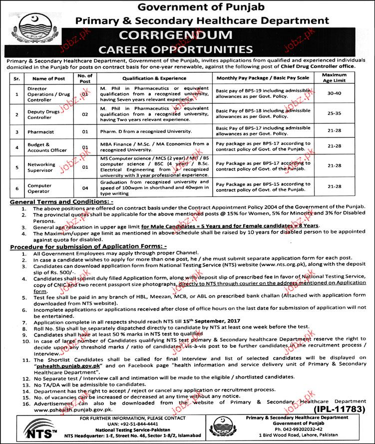 Primary Health & Secondary Department NTS Jobs