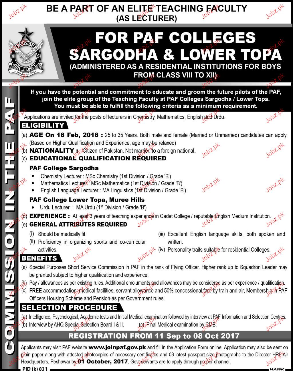 PAF Colleges Sargodha & Lower Topa Jobs