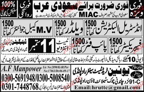 Industrial Electricians, Welders, Plumbers Job Opportunity