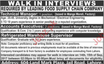 Food Supply Chain Company Required Technical Manager