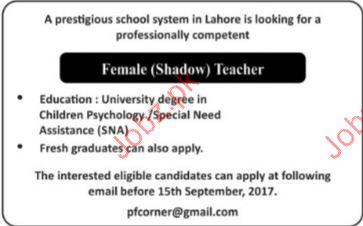 Prestigious School System Required Female Shadow Teachers