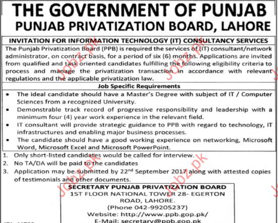 Punjab Privatization Board Required IT Consultants