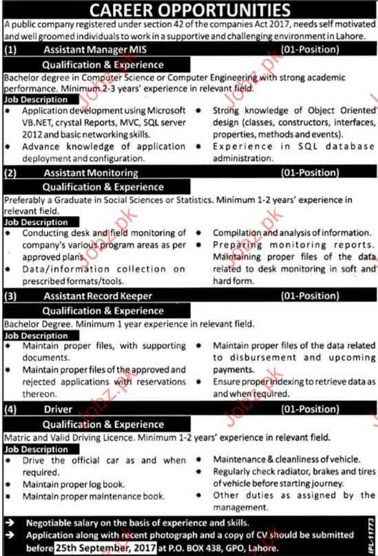Assistant Manager Required For Public Sector Company