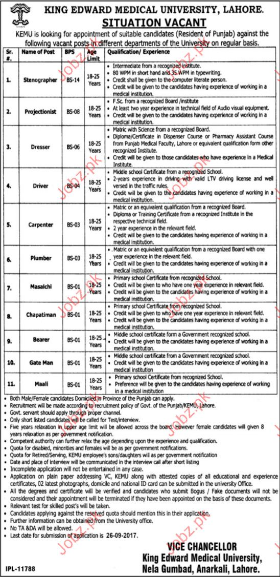 King Edward Medical University KEMU Required Steno Typist