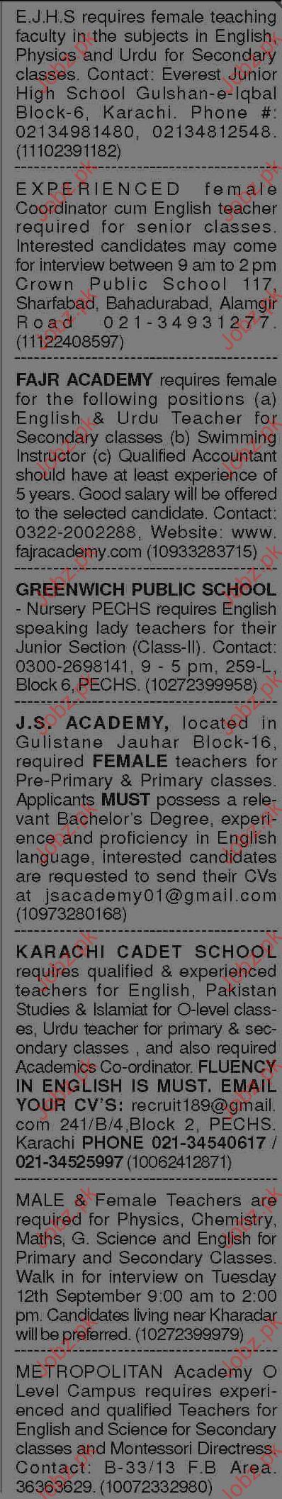 Teachers Jobs  In Private Schools At Karachi