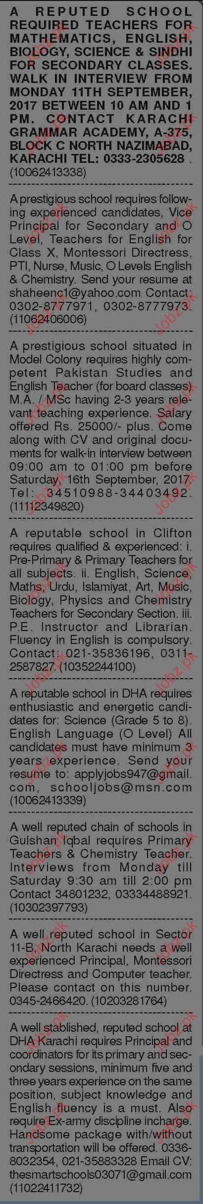 Teaching Staff Wanted By Karachi Grammar School