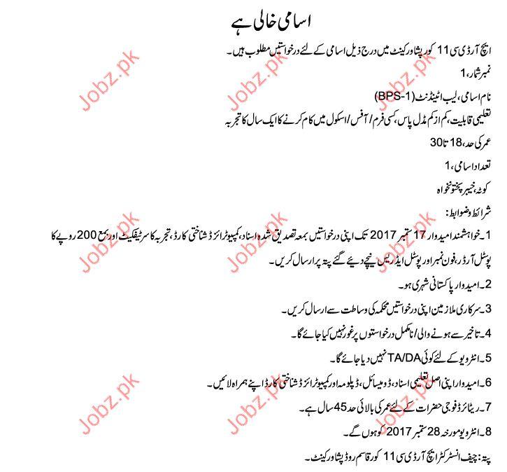 HRDC Peshawer Required Lab Attendant