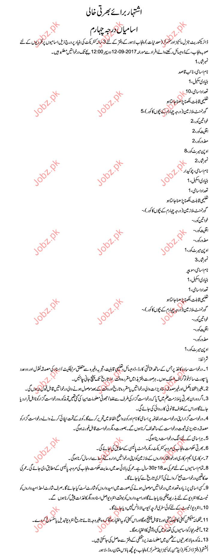 Directorate General Mines & Minerals Required Clerical Staff