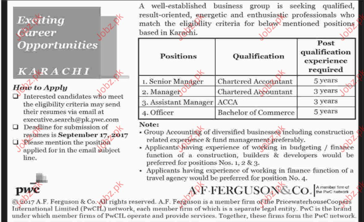 Managers Officers Jobs In A.F Ferguson & Co