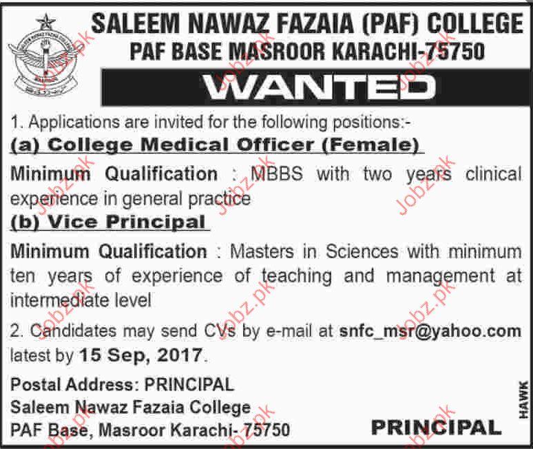 Saleem Nawaz Fazaia PAF College Jobs
