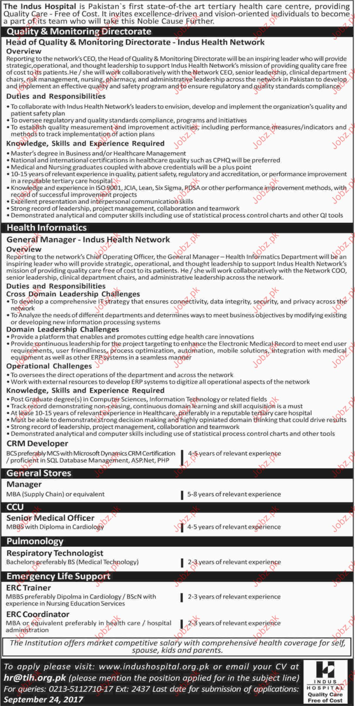 Jobs Oppotunity In The Indus Hospital
