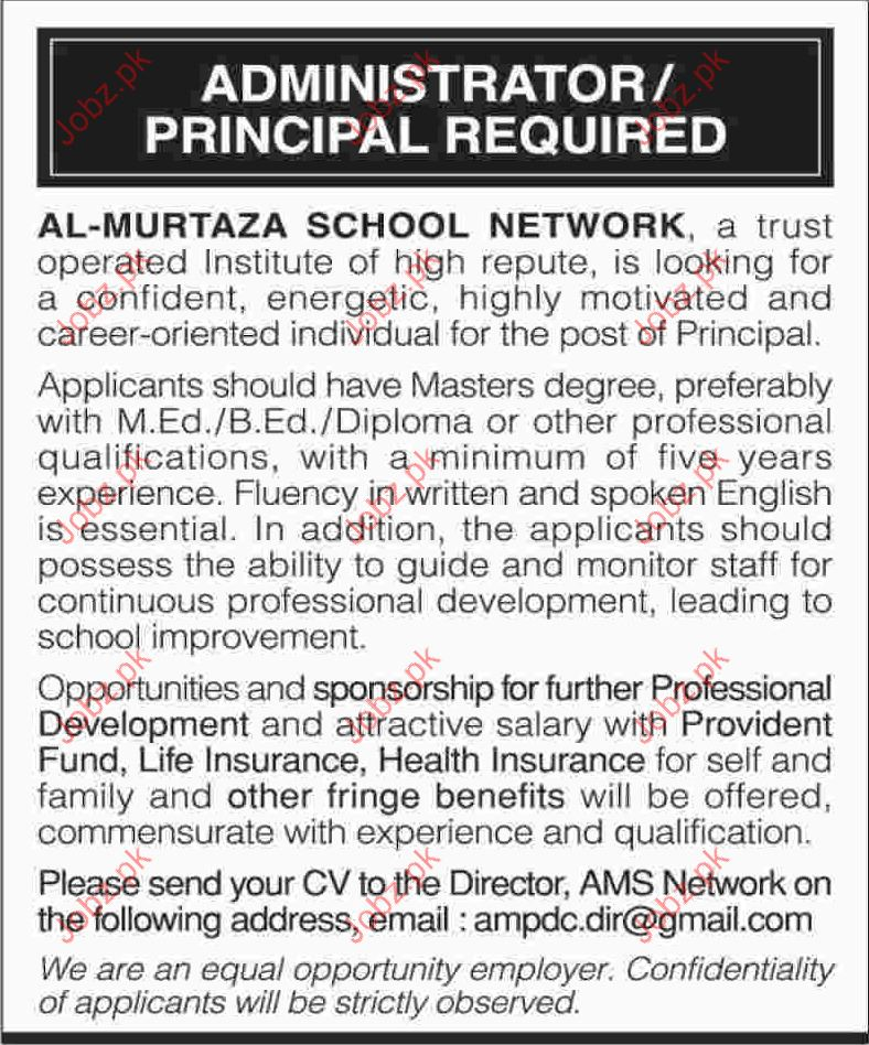 Pricipal Wanted By AL Murtaza School Network