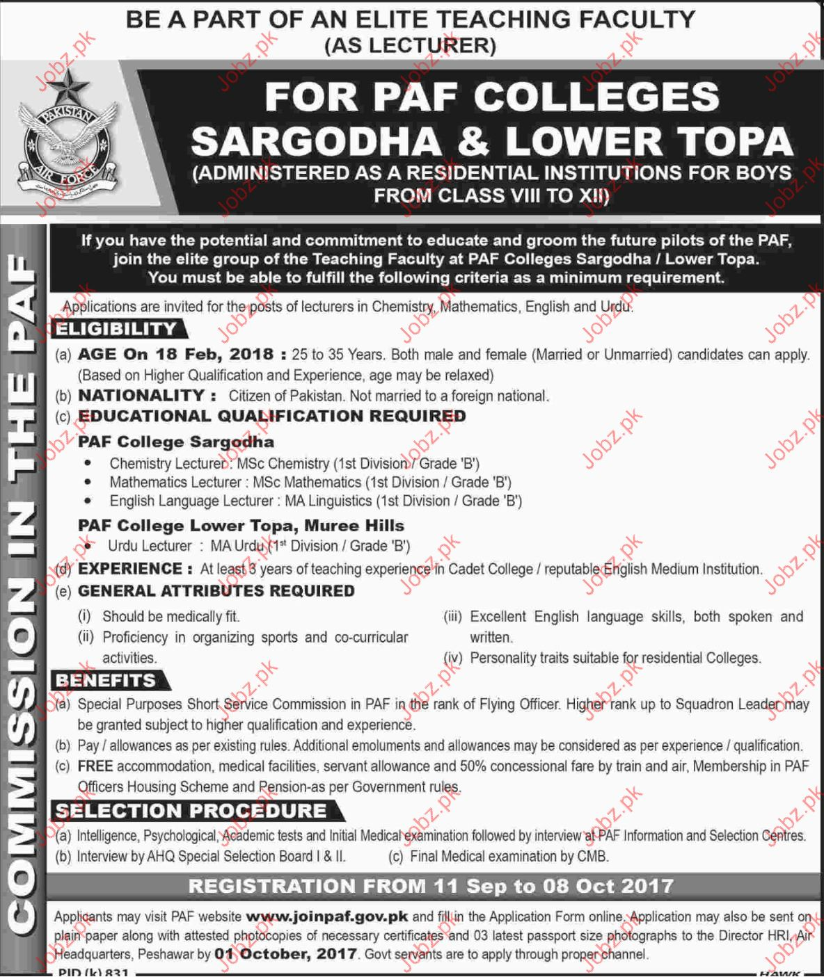 PAF Colleges Sargodha and Lower Topa Jobs Opportunity