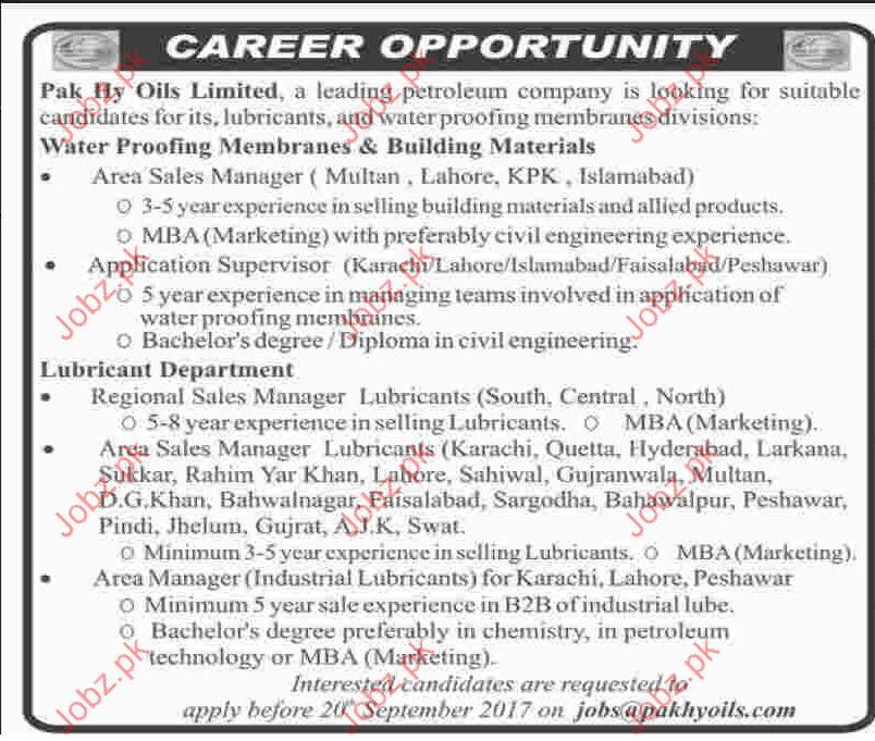 Jobs Opportunity In Pak Hy Oils Limited