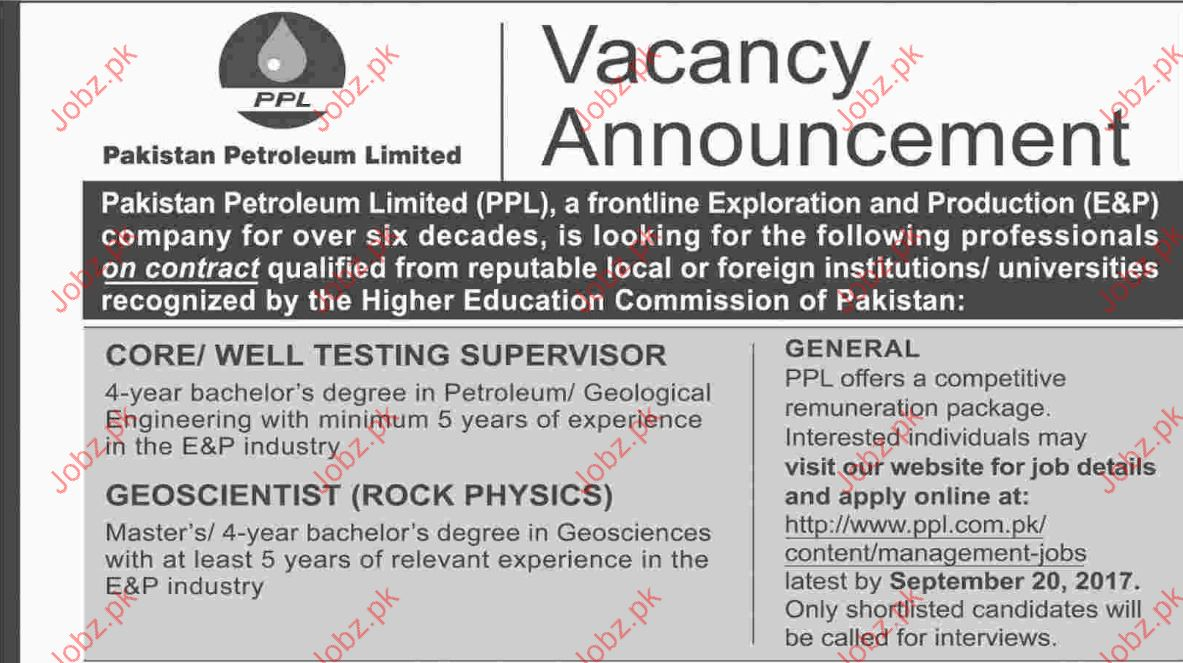 Supervisors And Geoscientist Jobs In Pakistan Petroleum