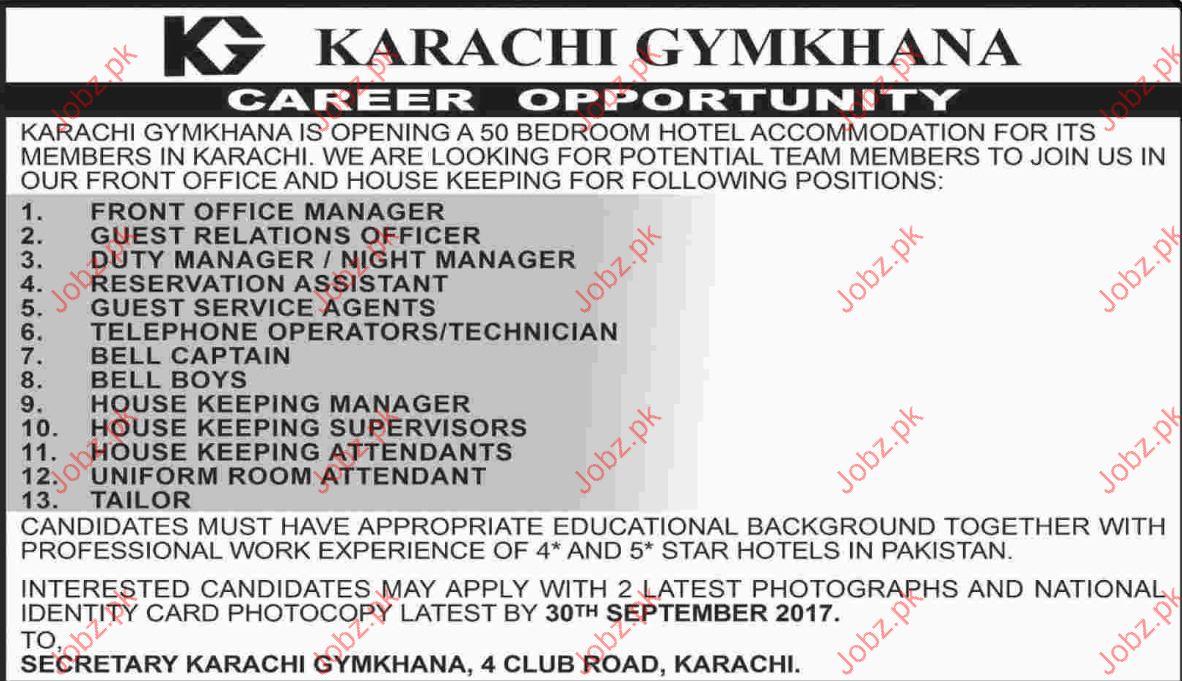 Jobs Opportunity In Karachi Gymkhana