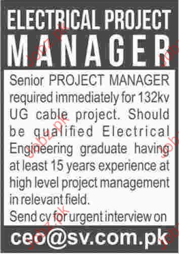 Electrical Project Manager Jobs Opportunity