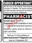 Pharmacists Job Opportunity