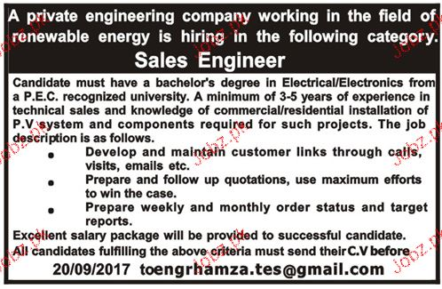 Sales Engineers Job Opportunity