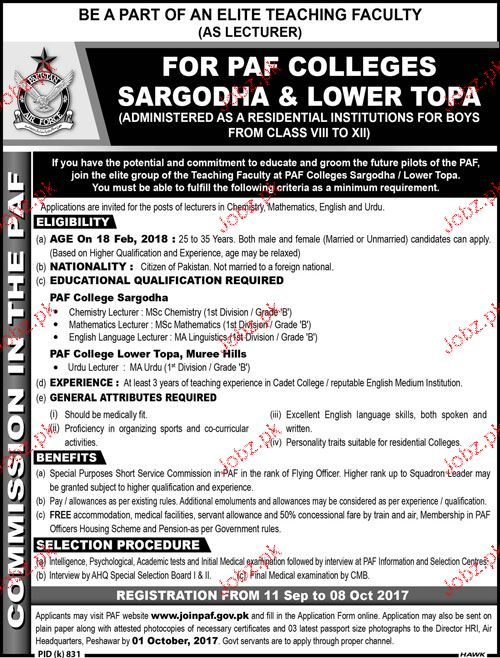 PAF Colleges Sargodha & Lower Topa Teaching Jobs