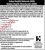 Medical Officers, Lady Health Visitors Job Opportunity