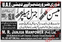 Mason and General Helpers Job Opportunity