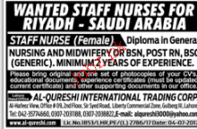 Female Staff Nurses  Job Opportunity