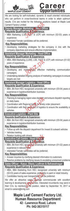 Deputy Manager Marketing, Assistant Manager Wanted