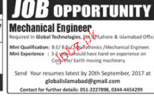 Mechanical Engineers Job Opportunity