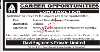 Assistant General Manager Procurement Job Opportunity