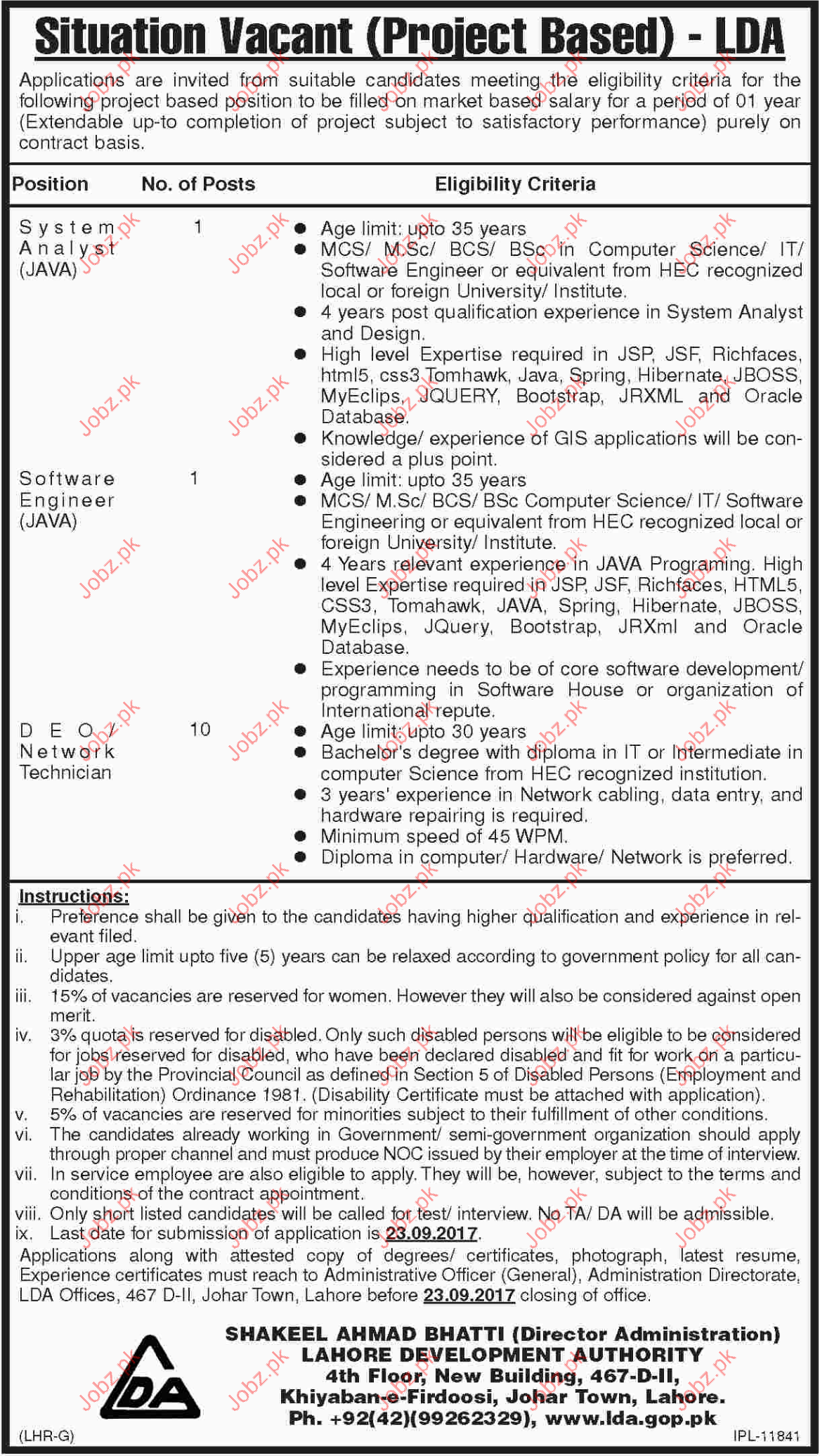 System Analyst Required For Lahore Development Authority