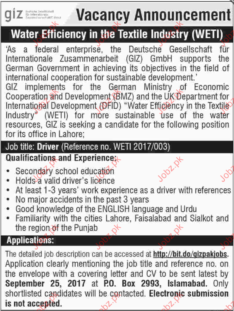 Deutsche Gesellschaft für Internationale Zusammenarbeit Job