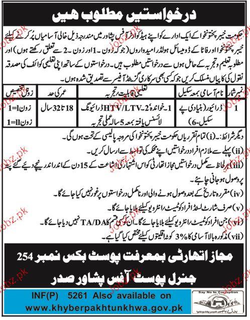 Government of Khyber Pakhtunkhawa Jobs