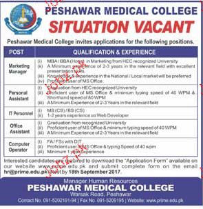 Peshawar Medical College Jobs
