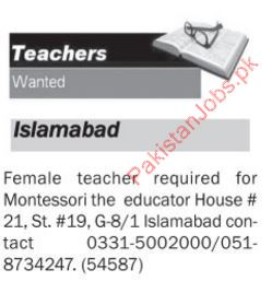 Female Teacher Required For Montessori School