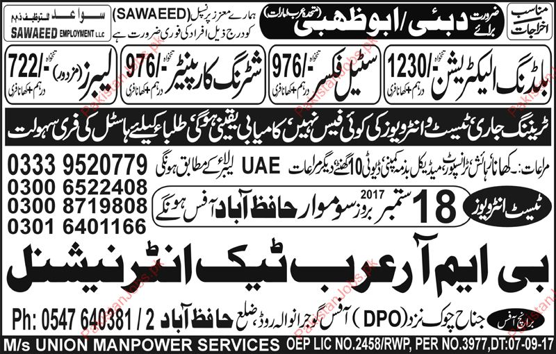 Sawaeed Company Required Building Electrician In Dubai
