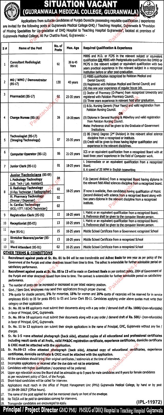 Gujranwala Medical College Required Consultant Radiology