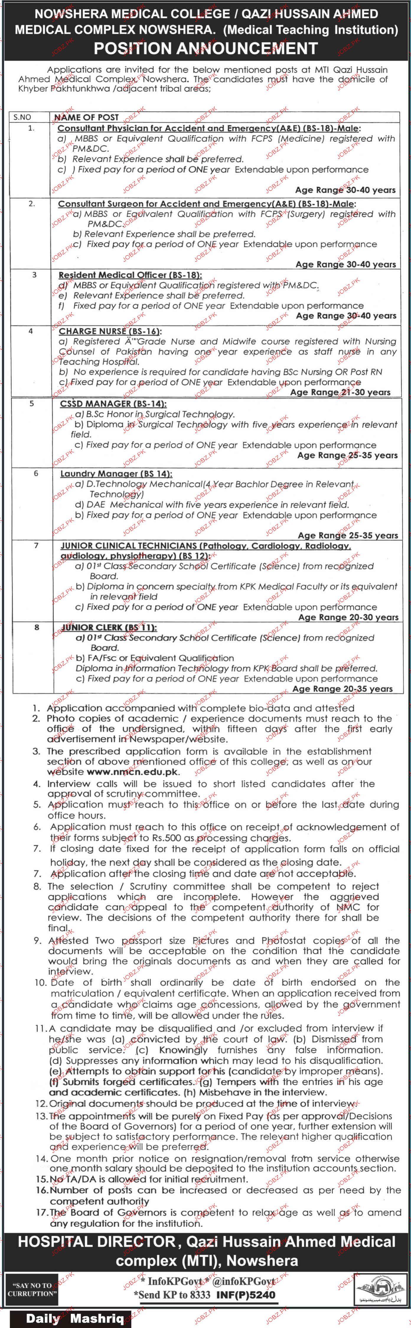 Qazi Hussain Ahmed Medical Complex Jobs