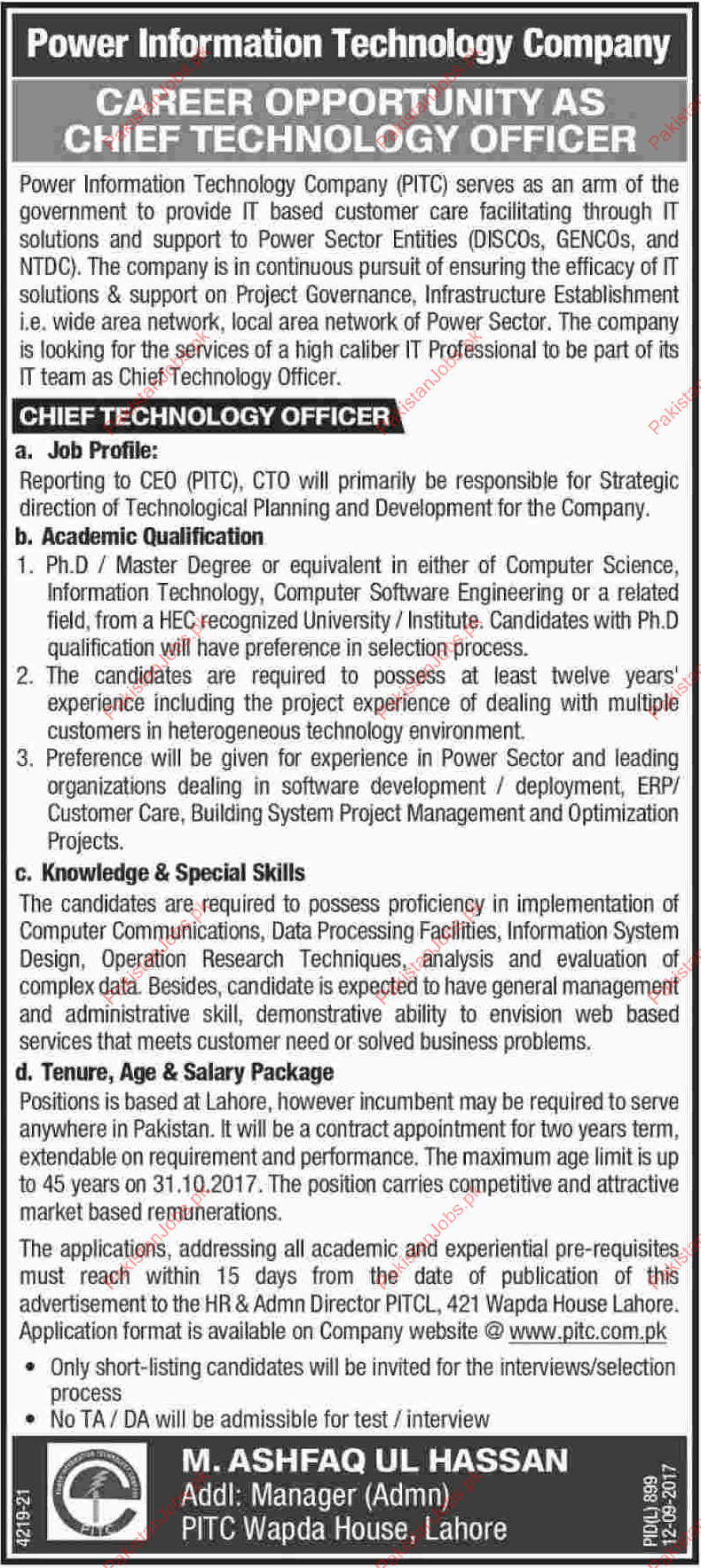 Power Information Technology Company Required Chief Officer