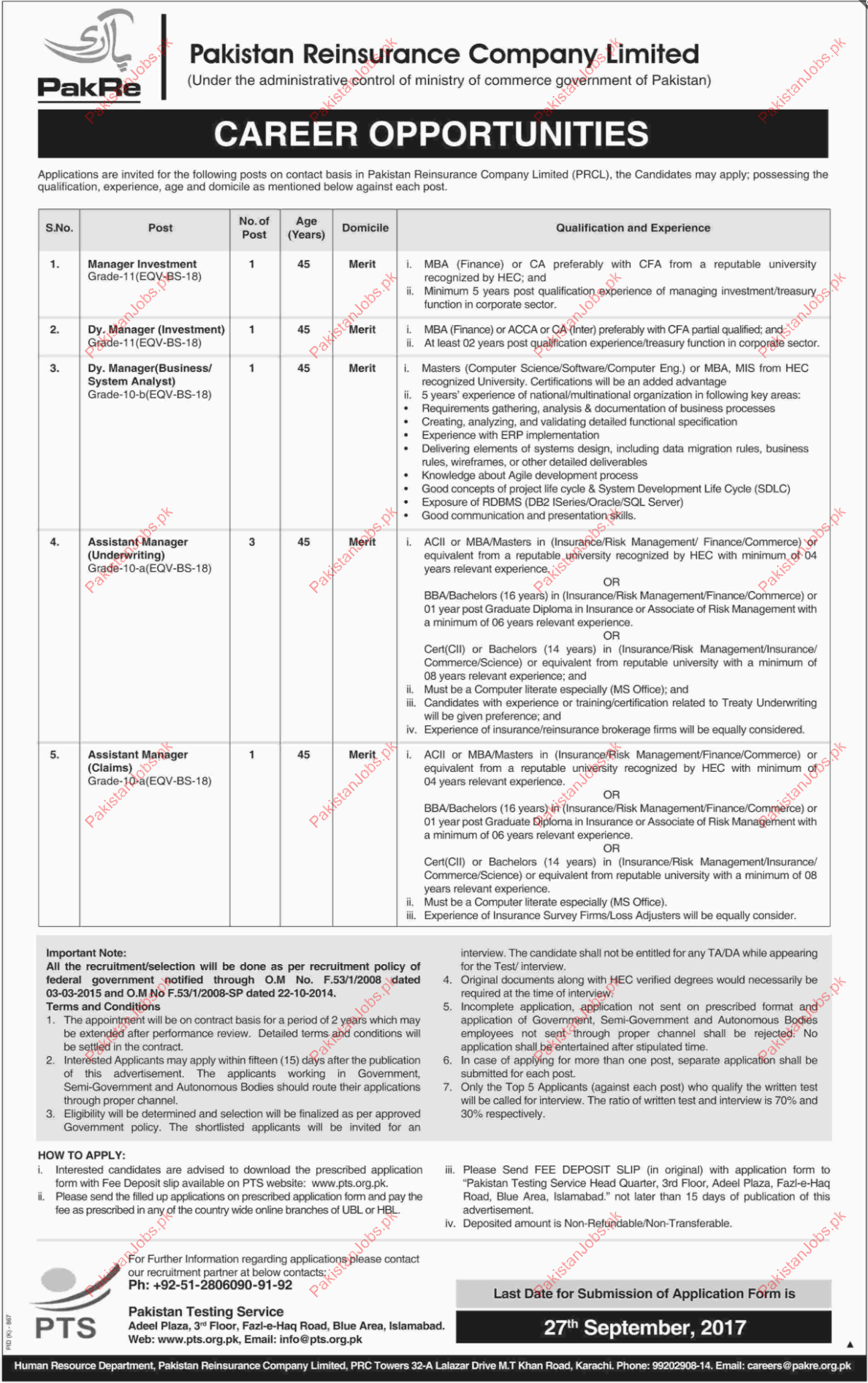 Pakistan Reinsurance Company Required Manager Investment