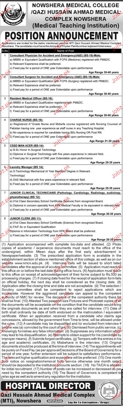 Nowshera Medical College Jobs