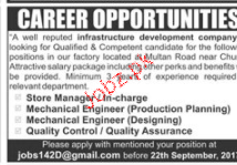 Store Manager, Mechanical Engineers Job Opportunity