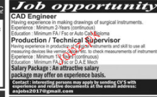 CAD Engineers, Production / Technical Supervisors Wanted