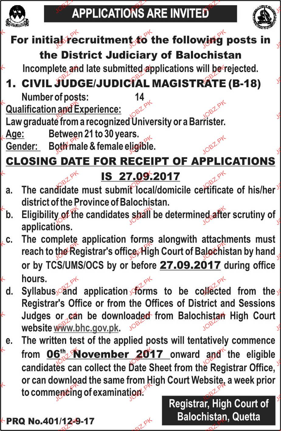 High Court Balochistan Quetta Jobs