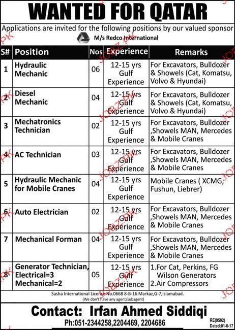 Hydraulic Mechanics, Diesel Mechanics Job Opportunity