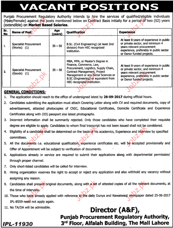Procurement Jobs In Punjab Procurement Regulatory Authority